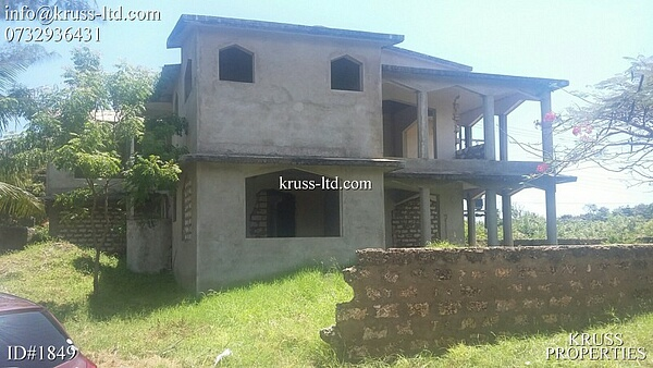 6br unfinished house for sale in Severin Area of Bamburi Beach